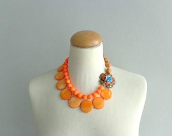 Neon orange flower necklace