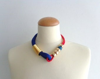 Blue gold red statement colorful necklace