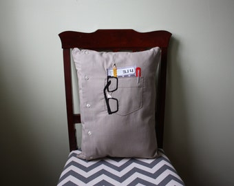 Nerd Pocket Pillow // Men's Shirt Pillow // Pi // Calculator // Nerdy Pillow // Nerdy Cushion // Geek Pillow // Math Pillow // Accountant
