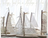 6.5 inch to 7 inchTall Driftwood Beach Decor Sailboat Antique Lace and Linen Sails Beachside Lakeside Home Decor Wedding Favors Cake Topper