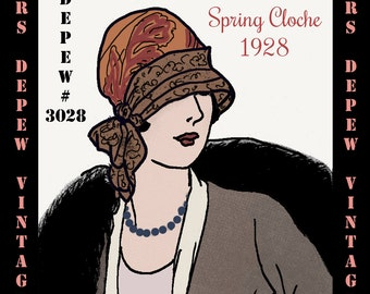 Vintage Sewing Pattern 1920's Spring Cloche Hat Depew 3028 Digital Print at Home E-book Version -INSTANT DOWNLOAD-