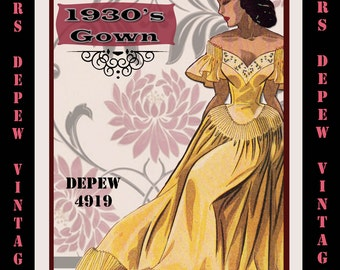 Vintage Sewing Pattern 1940's Evening Gown in Any Size - PLUS Size Included - Depew 4919 -INSTANT DOWNLOAD-