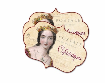 Christmas Queen Tags, Medieval Christmas, Madrigal Renaissance Tag, Burgundy Queen Gift Tag, Stocking Stuffer Hang Tag