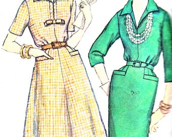 1950s Dress Pattern Simplicity 3121 Flared Skirt Slim Skirt Day Evening Dress Womens Vintage Sewing Pattern Plus Size Bust 44