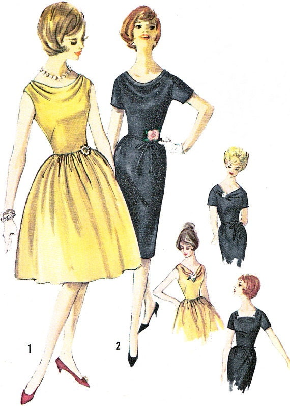 Items similar to 1960s dress pattern simplicity 4209 cowl for Cowl neck wedding dress pattern