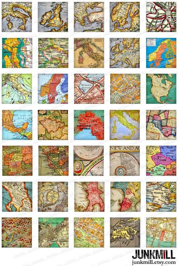 MINI MAPS Digital Collage Sheet Vintage Maps of by JUNKMILL