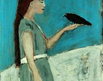 Digital Print - Girl Figure Painting - Blackbird Crow - Winter Snow - Wall Art Prints - Child's Room Wall Decor - Children's Print