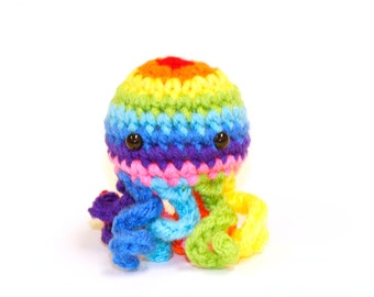 Rainbow Mini Octopus Amigurumi Plushie Stuffed Animal