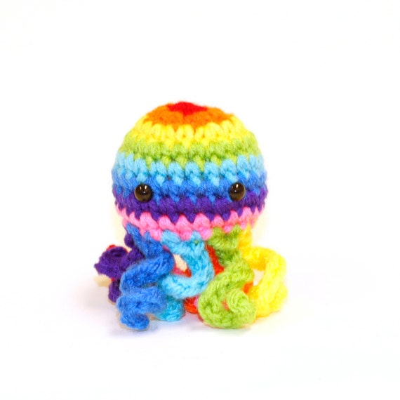 Octopus Amigurumi Plush : Rainbow Mini Octopus Amigurumi Plushie Stuffed Animal
