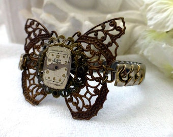 Steampunk Butterfly Watch Cuff Bracelet - OOAK Vintage Reclaimed Fashion Bracelet