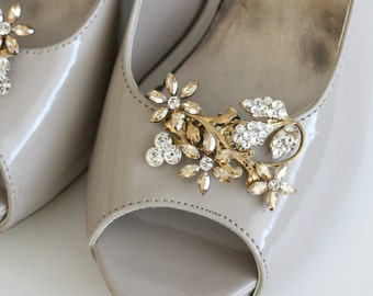 Gold Wedding Shoe Clips Crystal Shoe Clips Rhinestone Shoe clips Crystal Flower Shoe Clip Golden Shadow Leaf shoe clips AUBURY