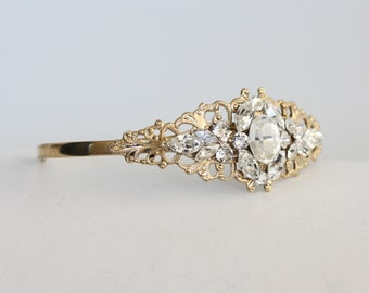 Gold Bridal Bracelet Crystal Wedding Bracelet Filigree Cuff Bracelet Swarovski Rhinestone Bridesmaid Cuff BRIELLE