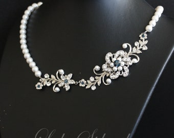 Pearl Bridal Necklace Rhinestone Flower Vintage Wedding Necklace Blue Wedding Jewelry  Choose your Blue SABINE GARDEN