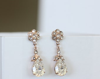 Rose Gold Teardrop Bridal Earrings Small Bridal Wedding Earrings Swarovski Crystal SIAN