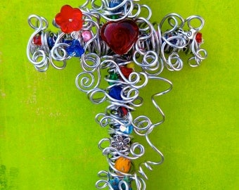 Decorative Wall Cross / Silver Wire Beaded Cross / Girl Cross / Baptism Gift / Confirmation Gift / Red Heart / Artsy Beads / 10-Inch