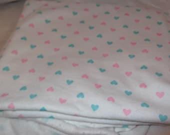 80s Vintage Pink & Blue Hearts Sweatshirt Fabric, Over 1 Yard, Punk Valley Girl