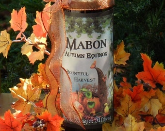 Mabon Autumn Equinox Glass Vigil Candle . Harvest Celebrations, Feasting Tables, Bountiful Blessings