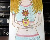 Hippie Flower Girl ACEO Original Watercolor Painting