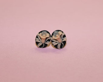 Tiny Pink and Black Wildflower Cameo Earrings