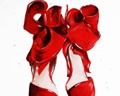 The Red Shoes Print of Original Fashion Illustration
