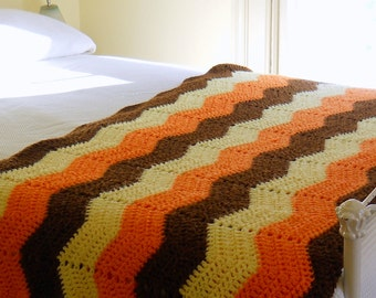 Vintage Afghan • Chevrons Brown Yellow Orange • Large 1970's