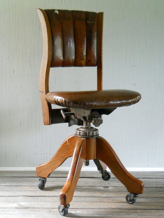 Vintage W H Gunlocke Rolling fice Chair