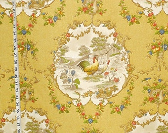 Yellow rooster toile fabric yellow chicken fabric French country fabric cottage fabric home decorating fabric yardage FREE SHIPPING 1 yard