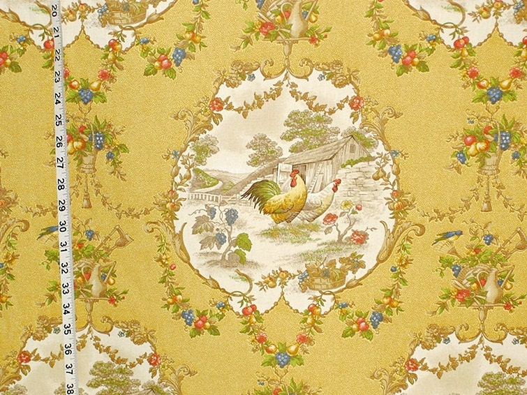 Yellow Rooster Fabric French Country Chicken Toile