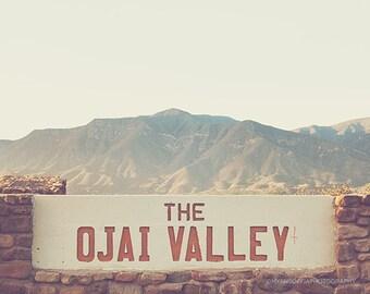 Ojai photograph, Ojai Valley photo, California decor, travel photography, mountains, landscape, summer vacation, yellow brown, meditation