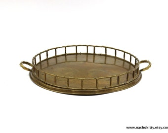 1920s Brass Tray Bamboo Asian Style Handled Serving Platter