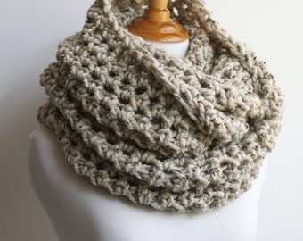 Super Scarf, Oversized Infinity Scarf, Chunky Snood, Huge Scarf, Loop Scarf, Oversized Knit Scarf, Oatmeal Scarf