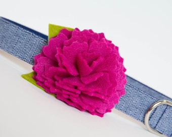 Flower Dog Collar - Pink with Navy Herringbone