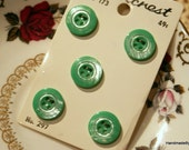 Set of Five Vintage Green Buttons on Original Card, Sewing Notions, Sewing Supplies