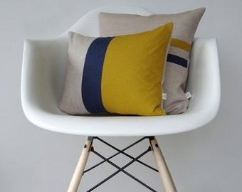 Mustard and Navy Color Block Pillow Set - (12x16) and (16x16) by JillianReneDecor Modern Home Decor Yellow and Navy Stripes (READY TO SHIP)
