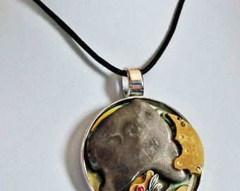 Michigan Petoskey stone with dragonfly art pendant necklace  with vintage gold  watch parts one of a kind steampunk style
