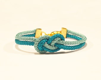 Turquoise and electric blue infinity knot nautical rope bracelet with gold heart charm // inspired by xSparkage
