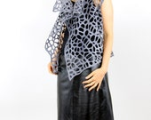 felt, felted, vest, lace, holes, wool,  grey and light grey  clothing, airy, light, transparent