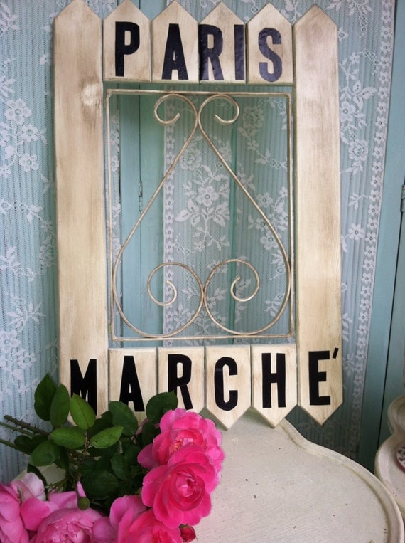 Paris Marche' French Market wood picket sign Shabby chippy chic distressed garden decor