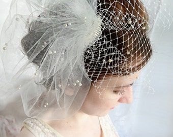 wedding birdcage veil, wedding bird cage veil with pearls, ivory or white tulle veil - JOLICOEUR - bridal hairpiece, small bridal birdcage