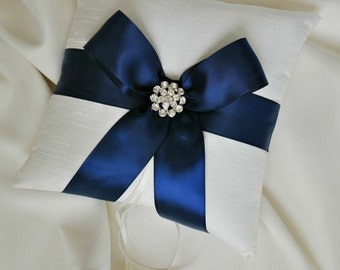 Ivory and Navy Ring Bearer Pillow - Silk Wedding Ring Bearer Pillow