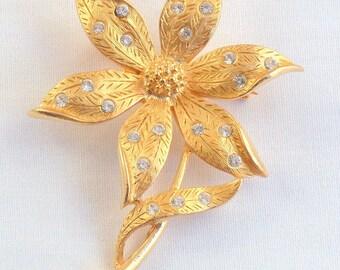 Vintage JJ Rhinestone Flower Brooch Etched Leaves Diamond Like Inset Stones