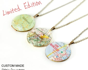 LIMITED - Custom Large Map Locket Necklace, Vintage Brass Locket, Map Jewelry, Personalized, Gift for Her, Paper Anniversary
