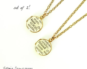 Best Friend Necklace, Set of Two, Lockets, Sisters, Dictionary Jewelry, Rose Gold, Gold, Silver, Brass, BFF Gift, Soul Sisters, Tiny Locket