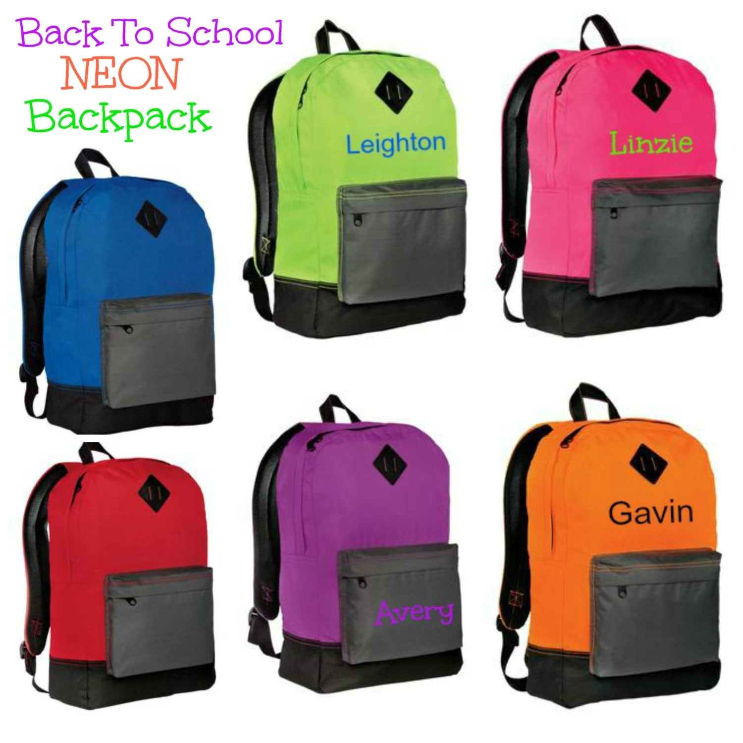 Back To School Backpacks Neon Colors for Boys and Girls