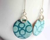 Bubble  Earrings with turquoise Enamels  Sterling silver and copper  Enamel earrings