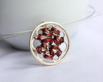 Tangle round Necklace, Sterling silver and copper, Red necklace, medium, casual, simple