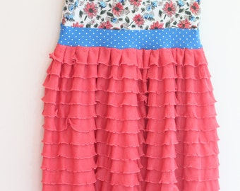 The Helena Dress -- Size 4/5 Ready to Ship -- Boutique Clothing -- Blue and Coral Floral