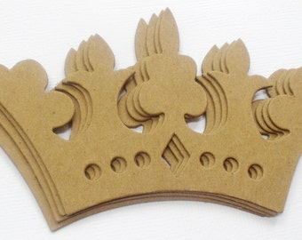 "FANCY CROWNS - Bare Chipboard Die Cuts - DIY Plain Craft Embellishments - 2  5/8"" x 5"" inches"