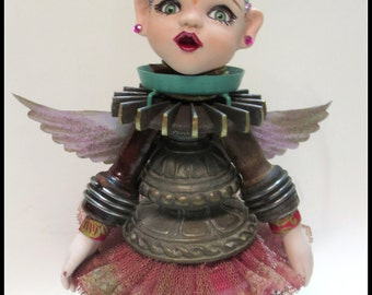 RASPBERRY FLAVORED SPRITE fairy assemblage doll