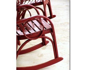 Red Rocking Chair Abstract Photography Modern Wall Art Print